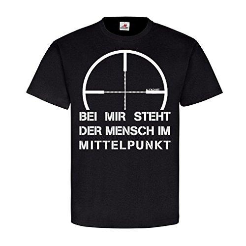Militär-armee-scharfschütze-t-shirt Top (Bei mir steht der Mensch im Mittelpunkt Sniper Bundeswehr Fun Humor Scharfschütze Zielfernrohr Spruch T Shirt #21467, Farbe:Schwarz, Größe:Herren 5XL)