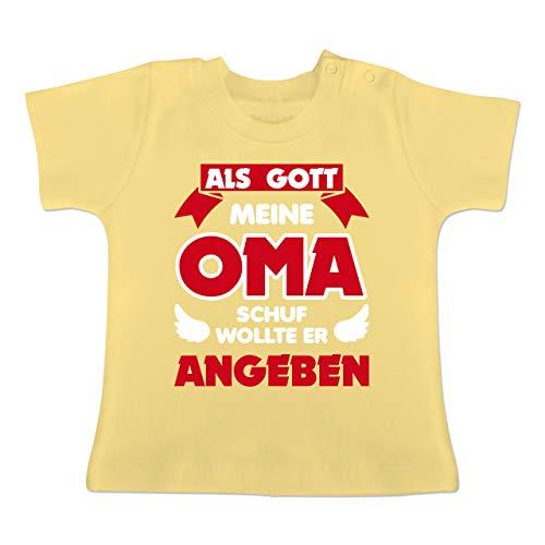 Sprüche Baby - Als Gott Oma Schuf - 1/3 Monate - Hellgelb - BZ02 - Baby T-Shirt Kurzarm