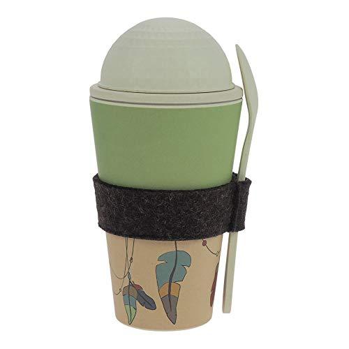 ebos Müsli-to-Go Becher aus Bambus | Müslibecher, Müslischale, Joghurtbecher | wiederverwendbar, umweltfreundlich, spülmaschinengeeignet, Verschiedene Designs (Traumfänger)