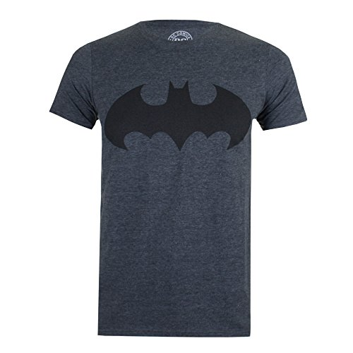 DC Comics Mono Batman-Mens, T-Shirt Uomo, Grey (Dark Heather), Medium