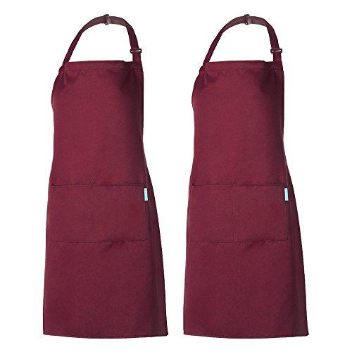 Esonmus Grembiule Regolabile da 2 Pezzi con 2 Tasche Grembiuli da Cucina per Cuoco, per Uomo e Donna, Bordeaux