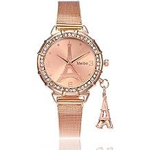 LHWY Reloj Redondo Del Rhinestone Del Cuarzo Del Acero Inoxidable De La Torre Eiffel De Las Mujeres De La Manera (Oro rosa)