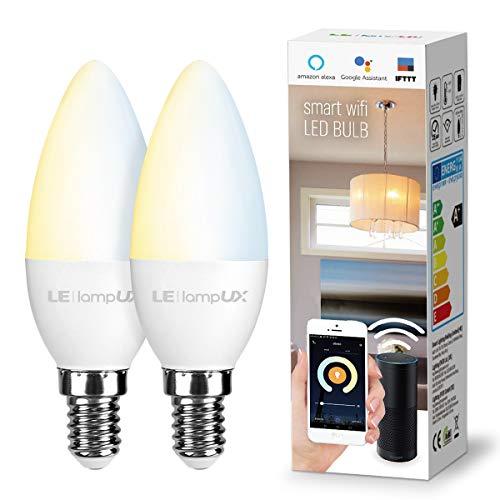 LE LampUX Vela Inteligente WiFi E14, Bombilla WiFi funciona con Alexa