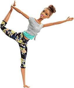Barbie Fashionista Made to Move, Muñeca articulada castaña con top gris (Mattel FTG82)