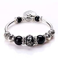 RuleaxAsi Fashion Unique Vintage Retro Woman Girl Silver Plated Metal Zinc Alloy Bracelet Bangle Beads Strand Charm Fine Jewelry for Gift Party
