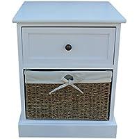 Preisvergleich für Rot behindern Single Schublade Holz Nachttisch, Holz, Weiß, 42x 39x 52.5cm