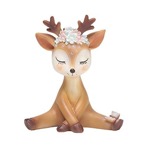 Vosarea - Figuras de Reno de Felpa de Ciervo Sika, Figuras navideñas de Alce para Navidad, decoración de Mesa de Navidad de Invierno (diseño tímido)