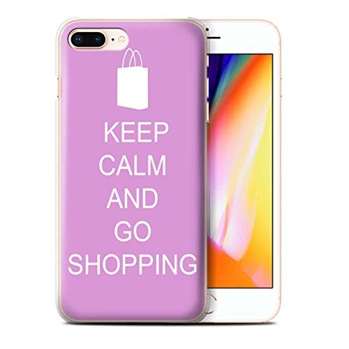 Stuff4 Hülle / Case für Apple iPhone 8 Plus / Schnurrbart/Braun Muster / Bleib Ruhig Kollektion Einkaufen Gehen/Rosa