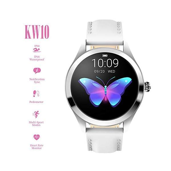FBLWT Smartwatches Reloj Inteligente para Mujer Kw10 Color Ip68 Señoras Rastreador De Fitness Pantalla Táctil Redonda 2