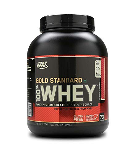 Optimum Nutrition Gold Standard Whey Eiweißpulver (mit Glutamin und Aminosäuren, Protein Shake von ON), Delicious Strawberry, 77 Portionen, 2.27kg
