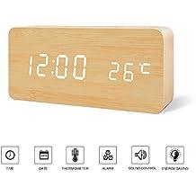 FiBiSonic-Reloj Despertador Digital de LED con 3 Alarmas y con Indicador de Fecha Temperatura Control del Sonido Diseño Estilo Madera y Portátil(Bambú Blanco)