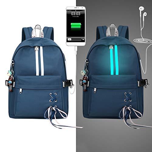 LLAni Mode Diebstahl Reflektierende Frauen Rucksack USB Charge Kopfhörer Loch Schultaschen Mädchen Reise Laptop Bagpack Bookbags (Skateboard-kopfhörer)