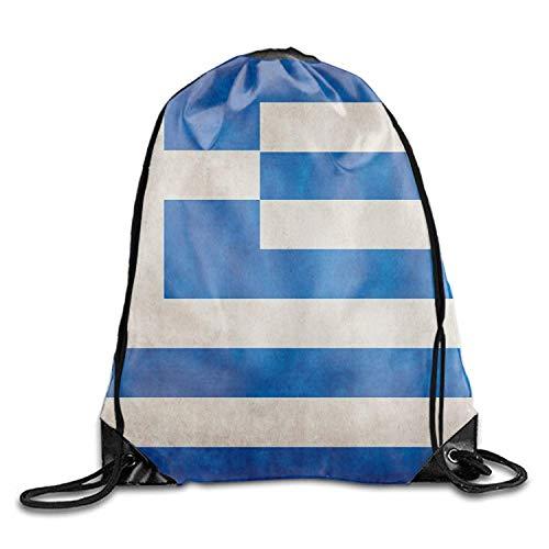 Flag String (uykjuykj Tunnelzug Rucksäcke, Drawstring Backpack Greek Flag String Bag Sports Waterproof Sackpack Gymsack Gym Cinch Sack Greek flag7 Lightweight Unique 17x14 IN)