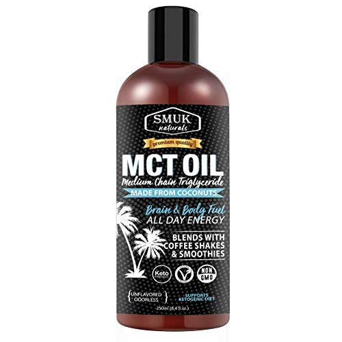 SMUK NATURALS MCT Medium Chain Triglyceride Oil Coconuts; Unsweetened Keto Diet Supplement (250ml)