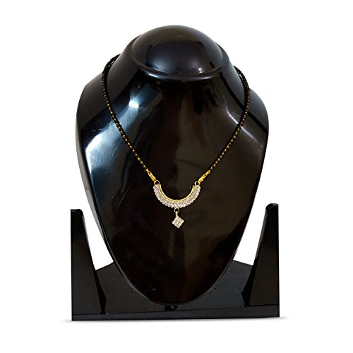 Divine Creations Gold Plated Jewellery Mangalsutra Pendant Necklace with Studded American Diamond with Long Chain For Girls And Women  available at amazon for Rs.189