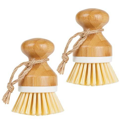 mDesign Juego de 2 cepillos de bambú para fregar platos - Cepillo redondo para lavar ollas, sartenes, platos y cubiertos - Brocha de cocina, adecuada para limpiar verduras - blanco/natural