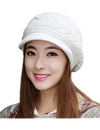 Krystle Prime Women Winter Warm Knit Hat Wool Snow Ski Caps with Visor(White)