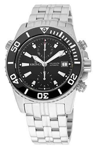 KRONOS - K300 Automatic Ceramic Black 736N2.855 CHR - Reloj Diver de Caballero automático, Brazalete...
