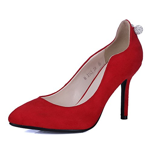 Damen Mattglasbirne Rot Schuhe Auf Hoher Ziehen AgooLar Rein Zehe Absatz Pumps Spitz dBqPwcZY