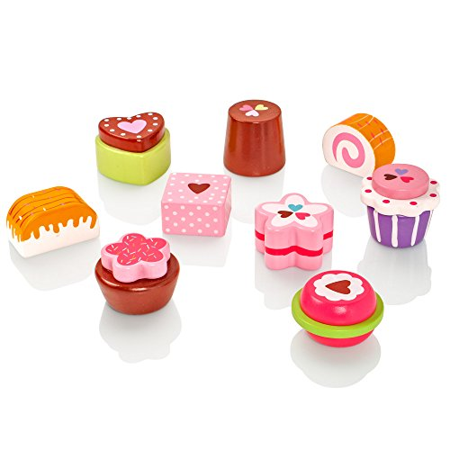 Milly & Ted Wooden Cupcake Stand & 9 Cakes Set - Childrens Wood Playfood Toy - Kids Pretend Play Food