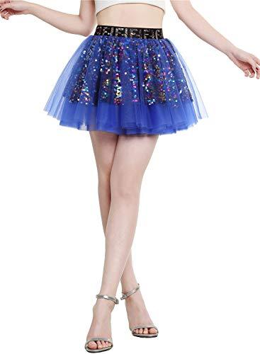 2-schicht Damen Wickelrock (Berylove Damen Tüllrock Mini Tanzrock Festliche Glitzernd Pailletten Petticoat Royalblue L)