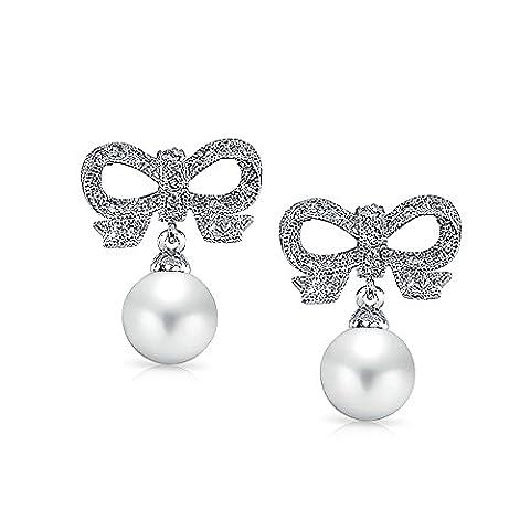 Bling Jewelry Cz Perles simulées Bow Suite Nuptiale Rhodié Boucles d'Lustre