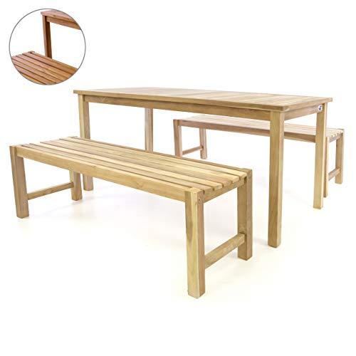 Divero Garten- & Picknick-Set Sitzgruppe | Gartenmöbel-Garnitur 3-teilig 1 Tisch 2 Bänke | unbehandelte behandelte Oberfläche Teak-Holz massiv wählbar (Teak Natur)