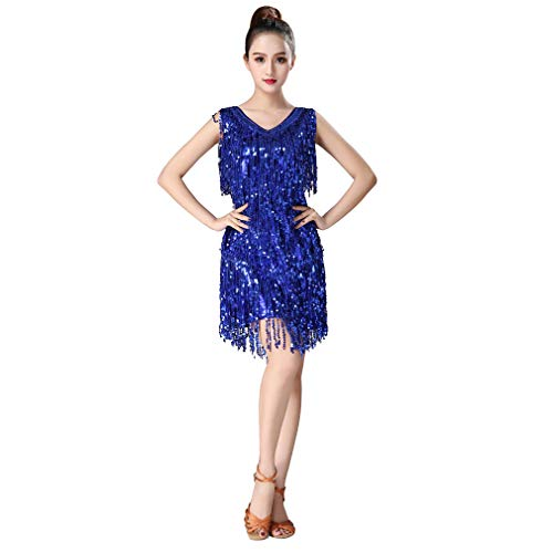 Magogo Latin Dance Dresses Pailletten Quasten Abschlussball-Kostüm Großer -
