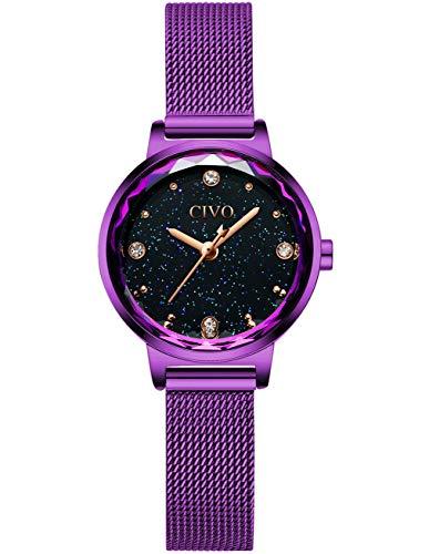 CIVO Damen Uhren Wasserdicht Silm Minimalistisch Damenuhr mit Edelstahl Mesh Armband Violett Mode Kleid Elegant Beiläufig Quarzuhr für Frau Lady Teenager Mädchen Blau Zifferblatt