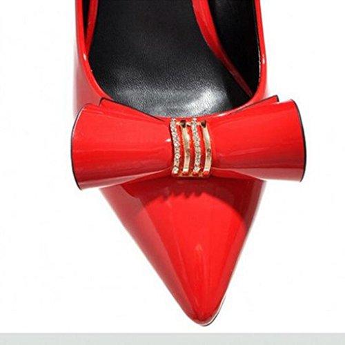 W&LM Chaussures individuelles Pierres de Strass Bouche superficielle Pointu Très bien avec Talons hauts Sandales femme red