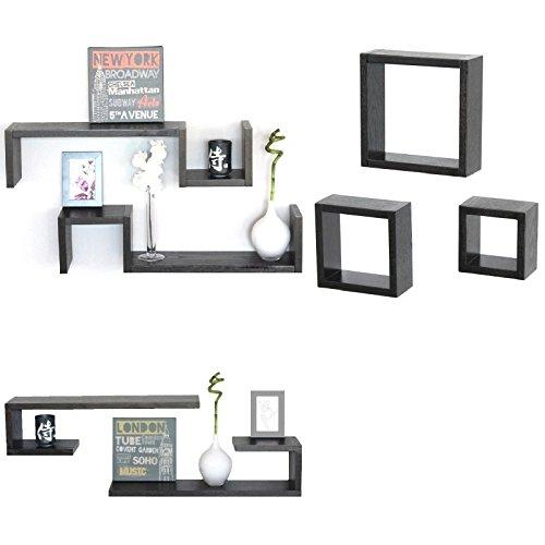 Lot de 7 étagères cubes design moderne, bois marron wenge, modèles Esse 3C CI