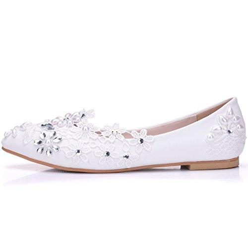 JING Weibliche Sandalen Spitze Brautschuhe Hochzeit Schuhe weiß mit flachem Boden Wasser bohren Pearl begleitet Mutter flach mit low Schuhe, weiße 40