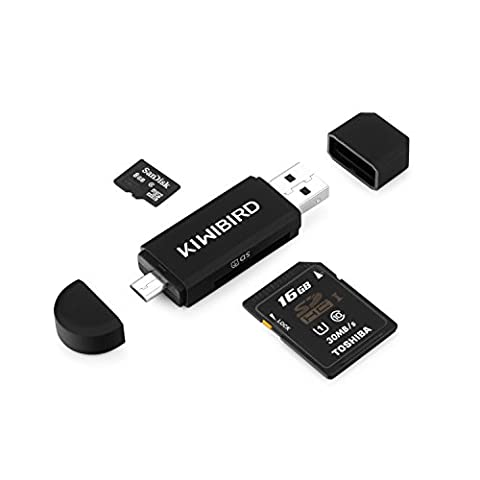 KiWiBiRD® Micro USB OTG et USB 2.0 Adaptateur; Lecteur de Carte SD/ Carte Micro-SD et Connecteur de USB Mâle standard et Micro USB Mâle pour Smartphones/Tablettes avec fonction OTG, les PCs et les ordinateurs portables