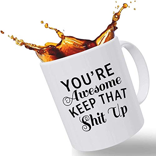 TK.DILIGARM Morning Motivation Funny Mugs Gift, You're Awesome Keep That St Up Coffee Mug - Congratulations, Goodbye or Going Away Gift for Coworker | Gifts for Mom, Dad, Boss, Employees & Friends
