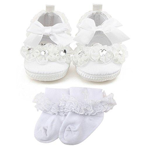 OOSAKU Scarpe da Bambina Scarpe da Battesimo da Principessa Antiscivolo Scarpe da Tennis Bianche con Calzini a Croce 6-9 Mesi
