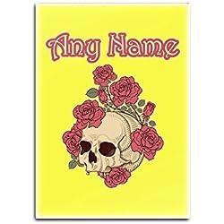 Regalo personalizado–Rosa de calavera de imán para nevera (diseño de miedo tema, colores)–cualquier nombre/mensaje en su único–cráneo, vidrio, YELLLOW