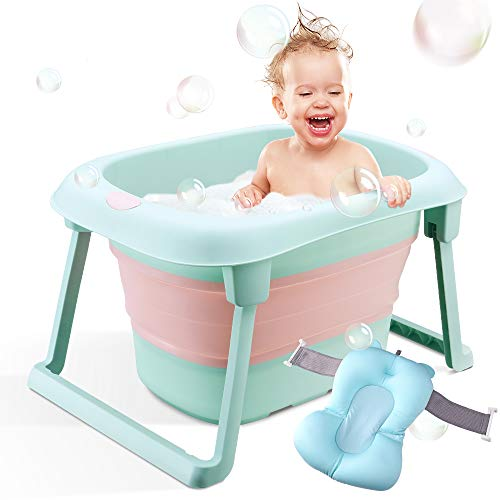 Bañera de bebé, bañera infantil plegable, soporte de baño portátil plegable para recién nacido...