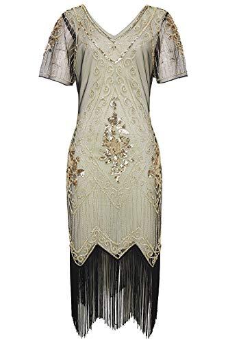 ArtiDeco 1920s Kleid Damen Flapper Kleid mit Kurzem Ärmel Gatsby Motto Party Damen Kostüm Kleid (Beige Gold, M (Fits 80-86 cm Waist))