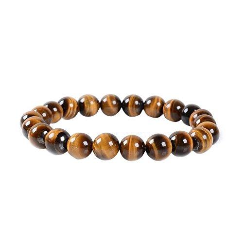 Contever® 8mm 22 Perle Perline Bracciale Naturali OcchiodiTigreGiallo Braccialetto Uomo,Donna