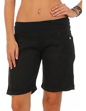 malito Damen Bermuda aus Leinen   lässige kurze Hose   Shorts für den Strand   Pants – Hotpants 3001