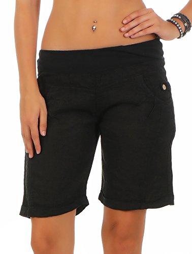 malito Damen Bermuda aus Leinen | lässige kurze Hose | Shorts für den Strand | Pants – Hotpants 3001 (schwarz, XL) (Schwarze Bermuda-shorts)