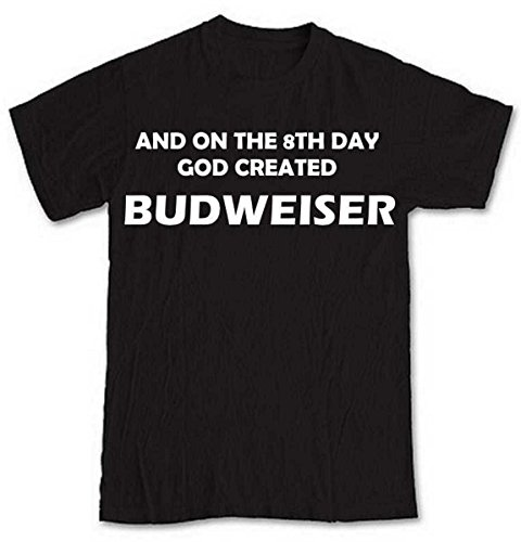 and-on-the-8th-day-god-created-budweiser-black-short-sleeve-t-shirt-from-our-unique-t-shirt-range-an