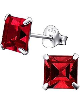 Laimons Damen-Ohrstecker viereckig glanz mit Glitzer rot Sterling Silber 925
