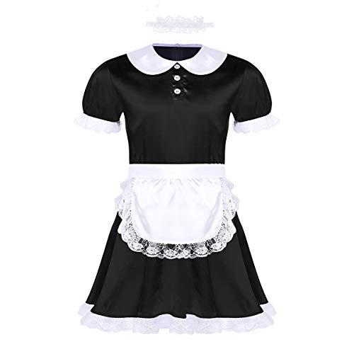 inhzoy 3er Set Herren Sissy Kleider Dienstmädchen Kostüm Outfit Männer Dessous-Crossdresser Nachtkleid Maid Kostüm Cosplay Satin Reizwäsche Schwarz X-Large (Männer Dienstmädchen-outfit Für)