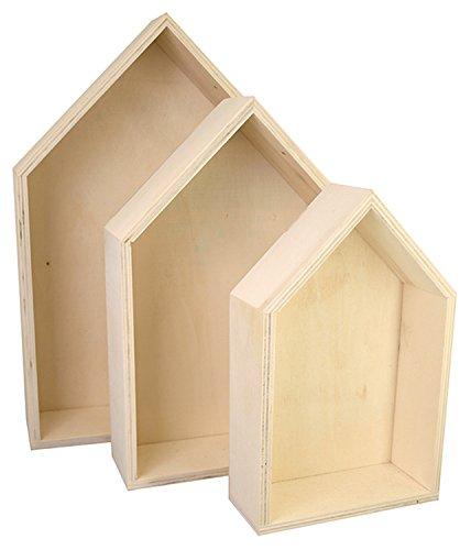Kreul 45155 - Holzboxen 3er Set in Hausform, je 1 Stück ca. 20,3 x 12,6 x 5 cm, ca. 25,3 x 17 x 5,5 cm und ca. 31 x 21,3 x 6 cm, unbehandelt, zum Verzieren mit verschiedenen Techniken und Farben