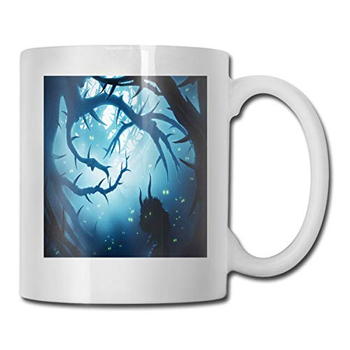 Jolly2T Funny Ceramic Novelty Coffee Mug 11oz,Animal with Burning Eyes In The Dark Forest at Night Horror Halloween Illustration,Unisex Who Tea Mugs Coffee Cups,Suitable for Office and Home