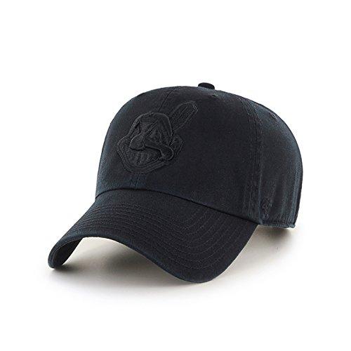 47Brand Cleveland Indians reinigen bis Dad Hat Cap MLB alle schwarz (Indians-baseball-cap)