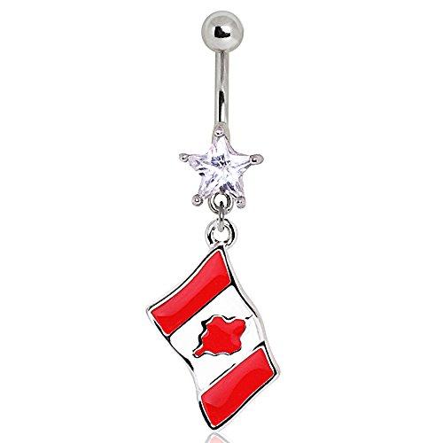 Klar Stern-Kristall Kanada Kanadische Flagge baumeln Chirurgenstahl Bauchn 1,6mm x 10mm