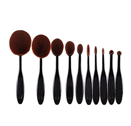 Hosaire Soft 10pcs Toothbrush Shaped Foundation Power Makeup Oval Cream Puff Brushes Set