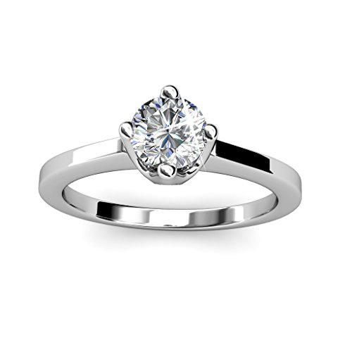 ila-weißes Gold Solitaire Verlobungsring mit Art und Weise Schmucksachen, runder Diamant-Ring, Silber Ehering, stapelbare - hypoallergen (8) - 8 (Einfach Katze Kostüm Für Arbeit)